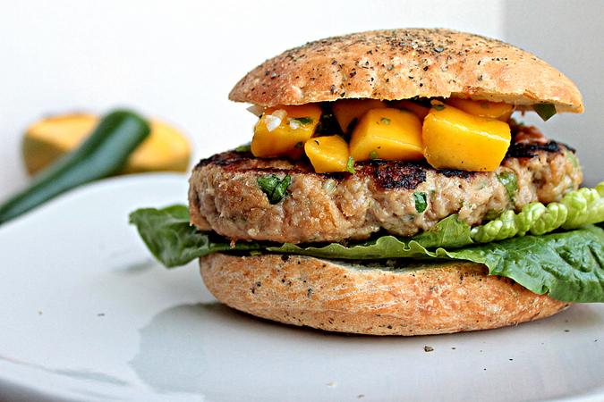 Thai Chicken Burgers with Mango Salsa
