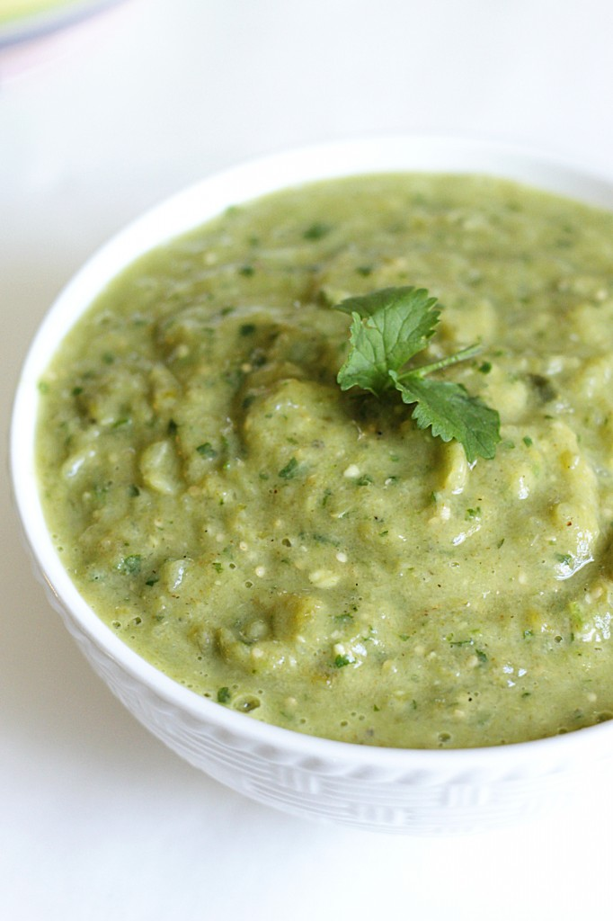Roasted Tomatillo and Avocado Salsa Verde