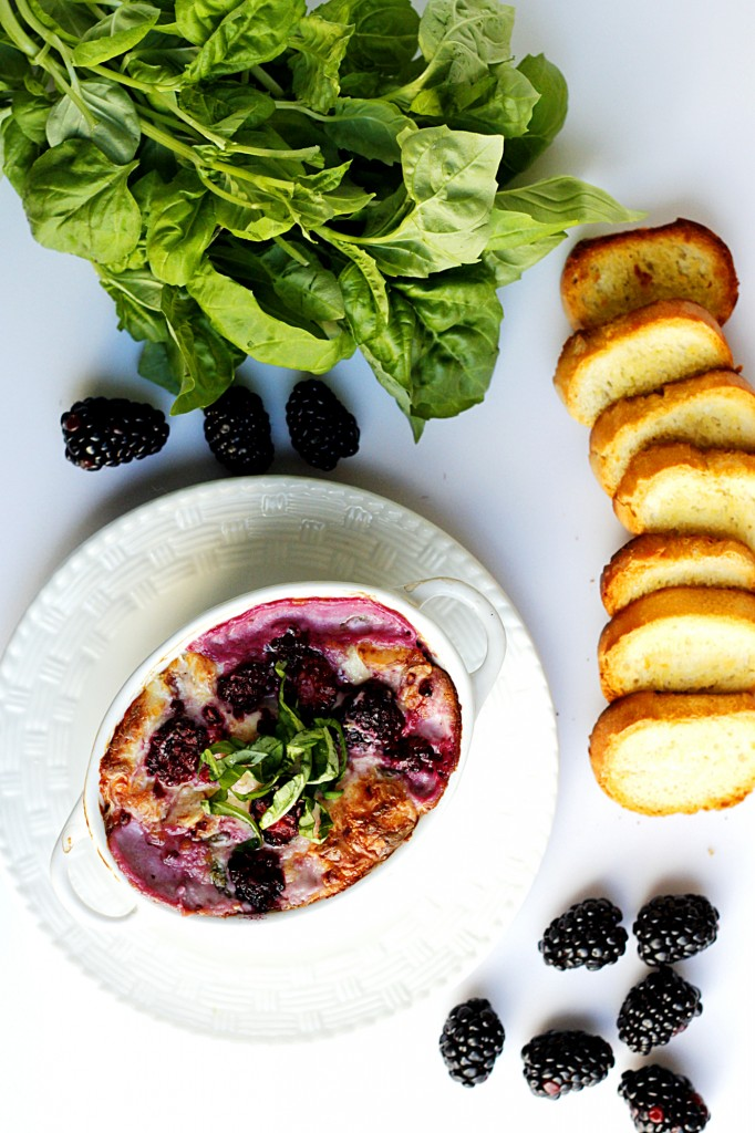 Hot Blackberry Fontina Dip with Black Truffle Crostini | Fabtastic Eats