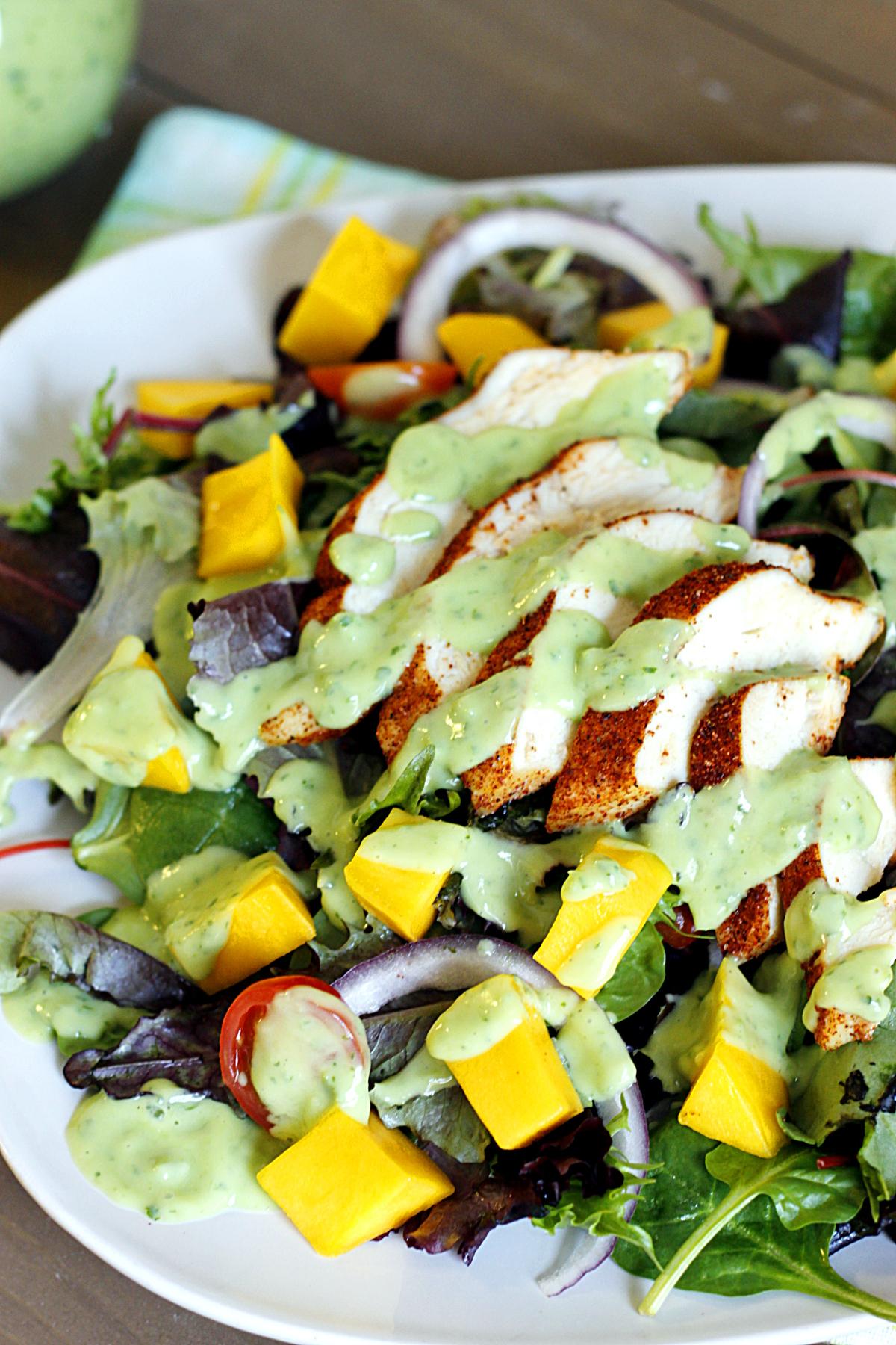 Blackened Chicken and Mango Salad with Creamy Avocado Dressing ...