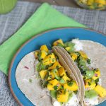 Coconut Chicken Tacos with Mango Salsa and Avocado Green Sauce