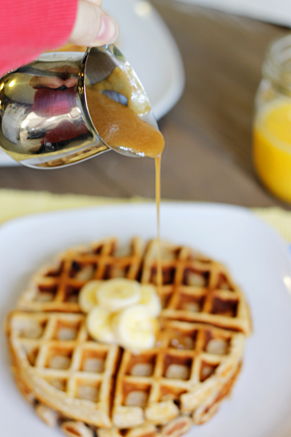 Banana Waffles with Peanut Butter Maple Syrup