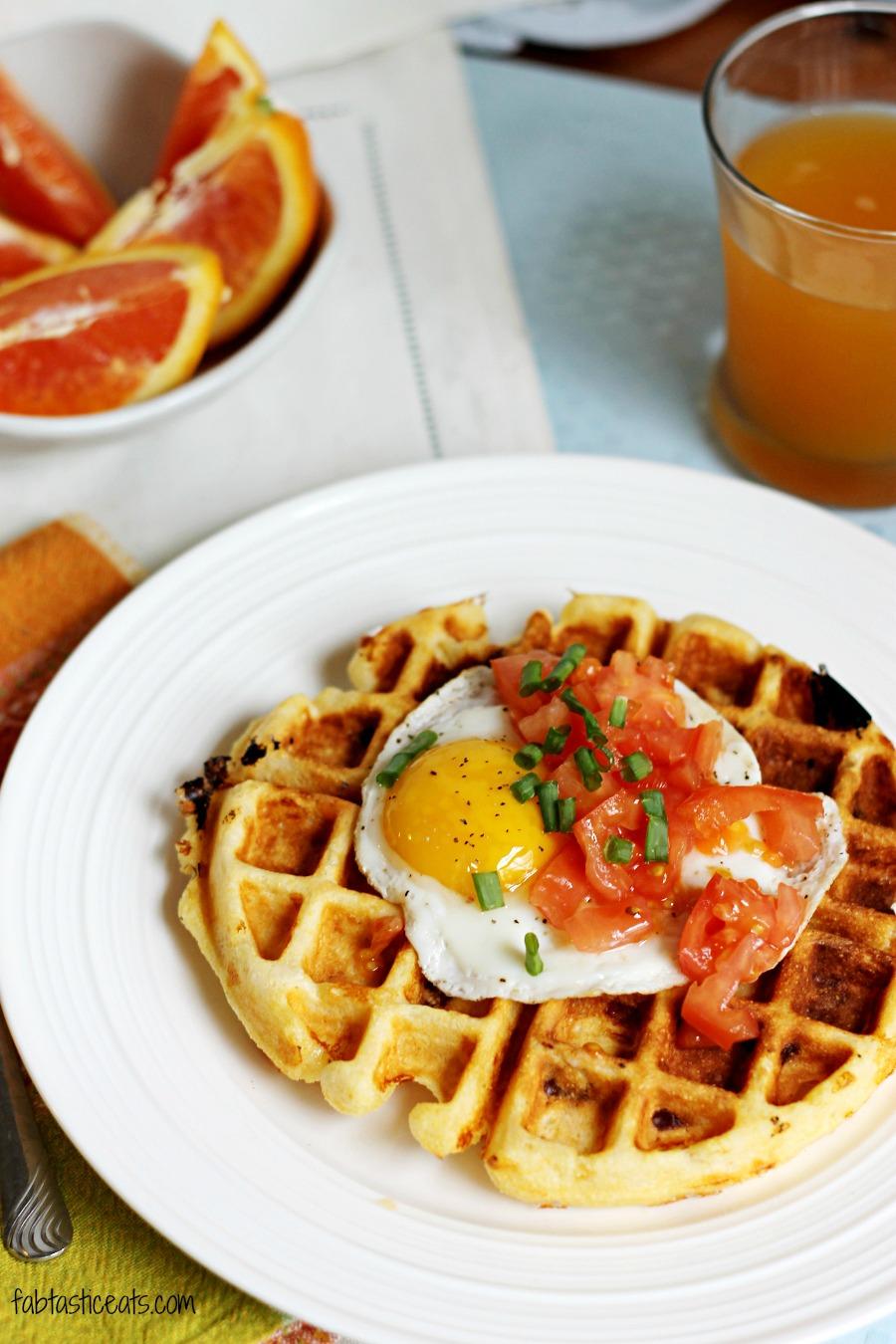Cheddar Cornmeal Waffles with Eggs | Fabtastic Eats