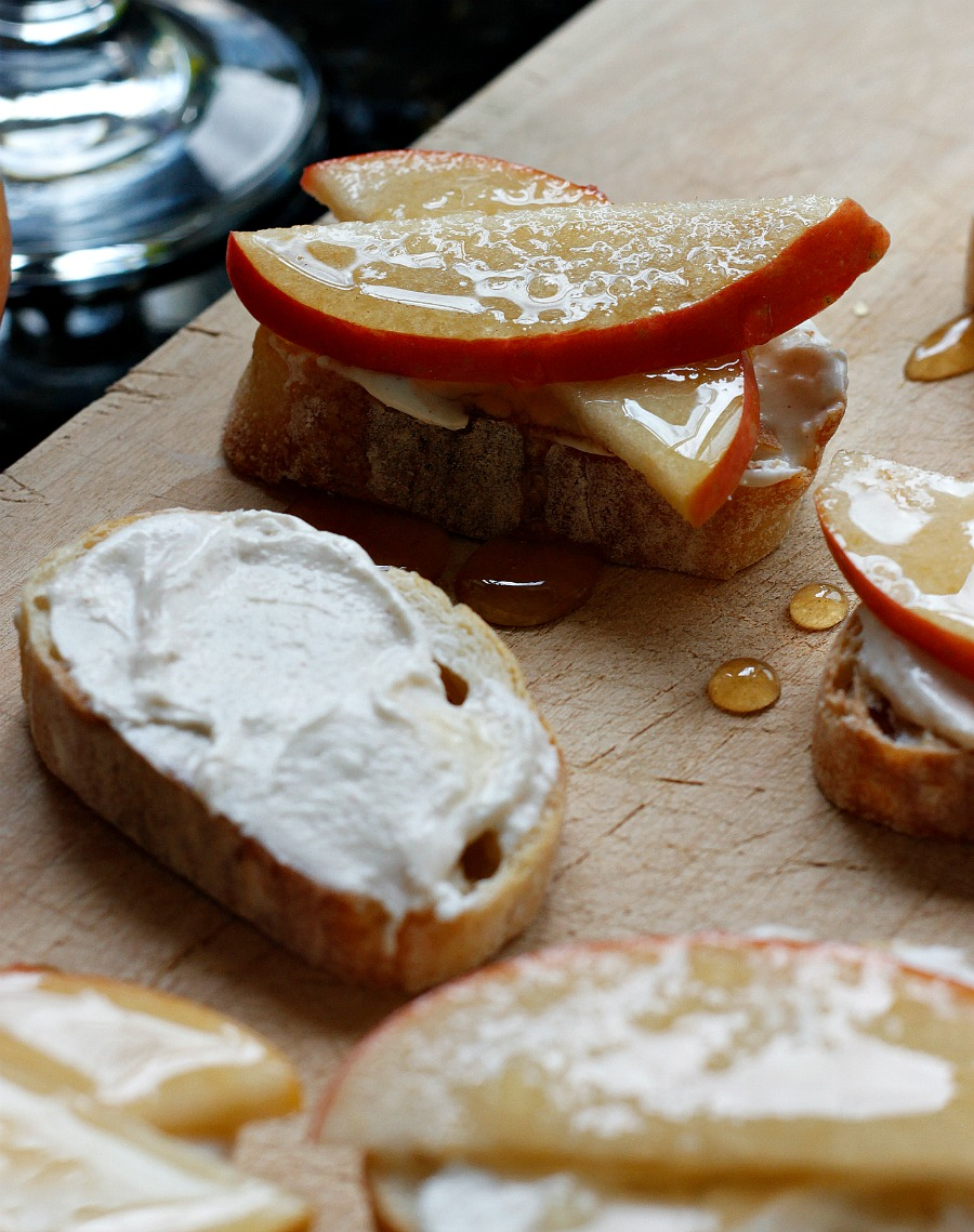 Cinnamon Whipped Feta and Honey Drizzled Apple Crostinis