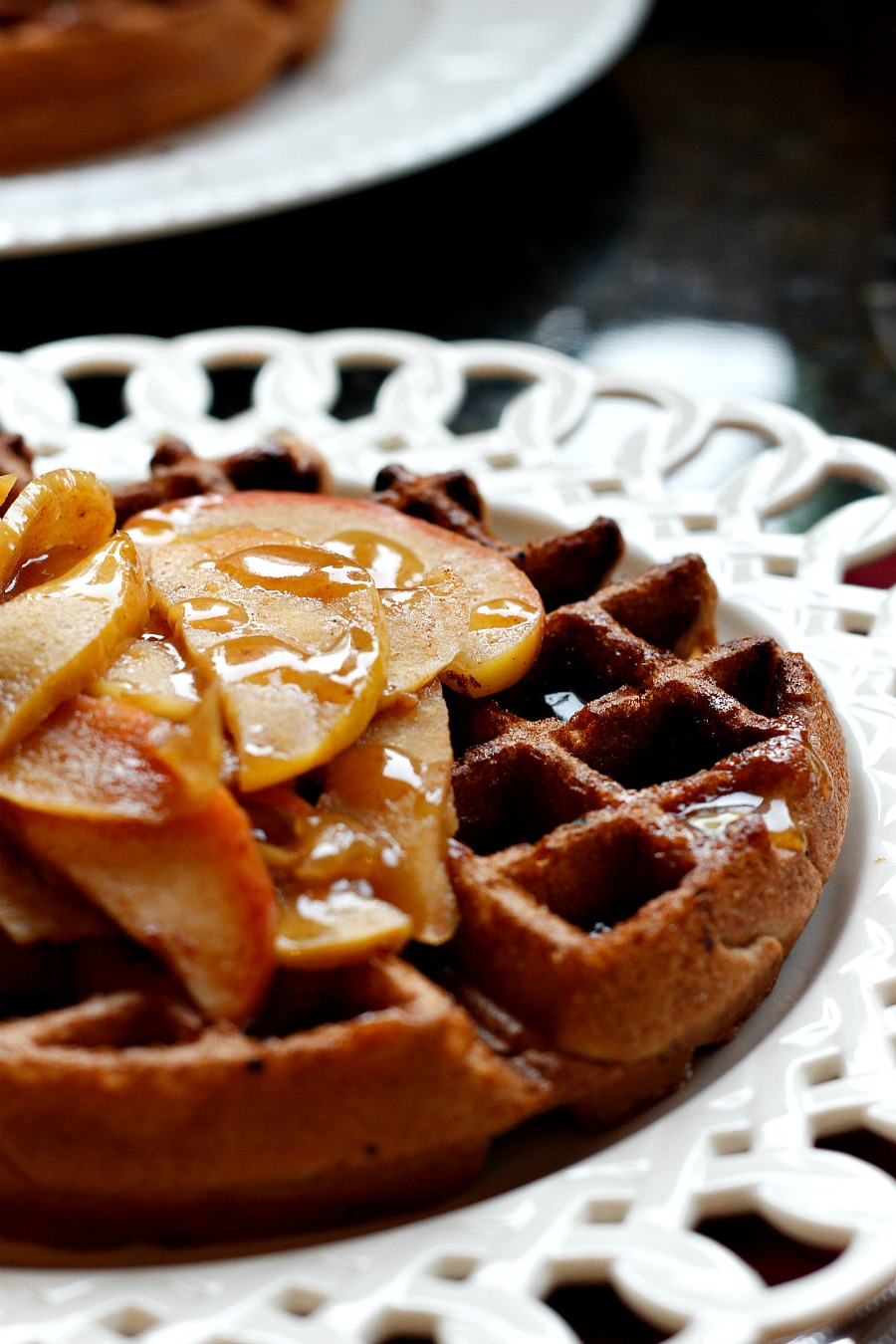 Perfectly Spiced Waffles topped with Caramelized Apples and an Apple ...