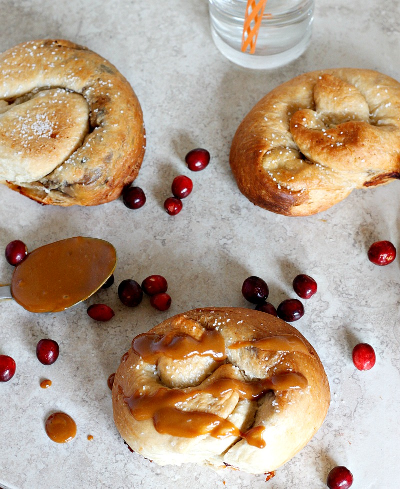 Caramelized Cranberries and Brie Stuffed Pretzels drizzled with Dulce de Leche