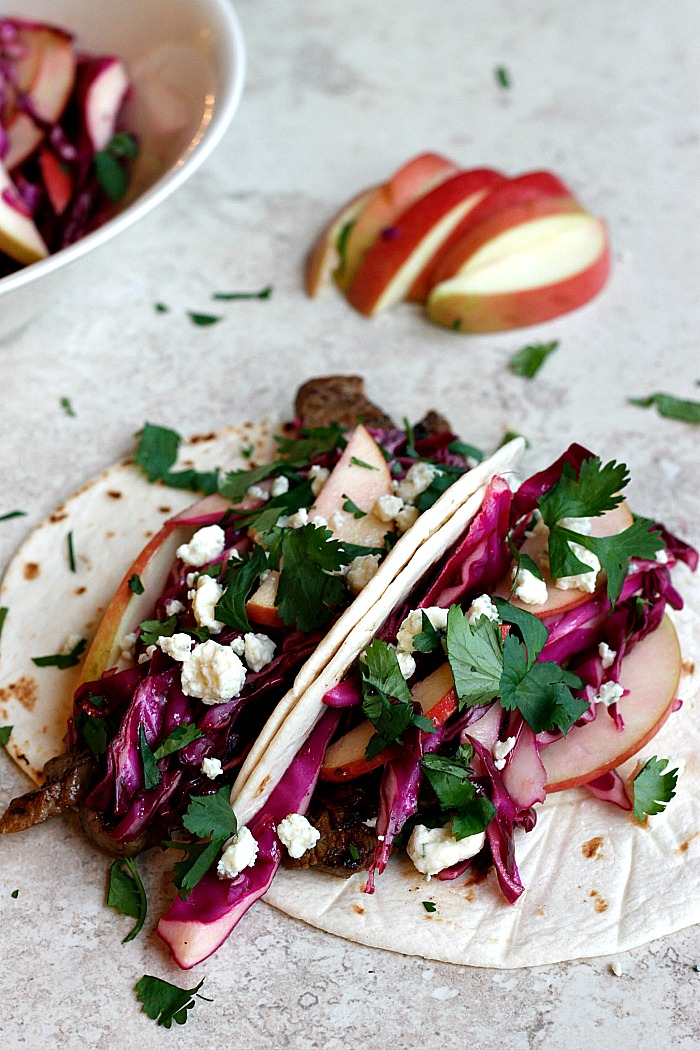 Cider Flank Steak Tacos with Red Cabbage Apple Slaw