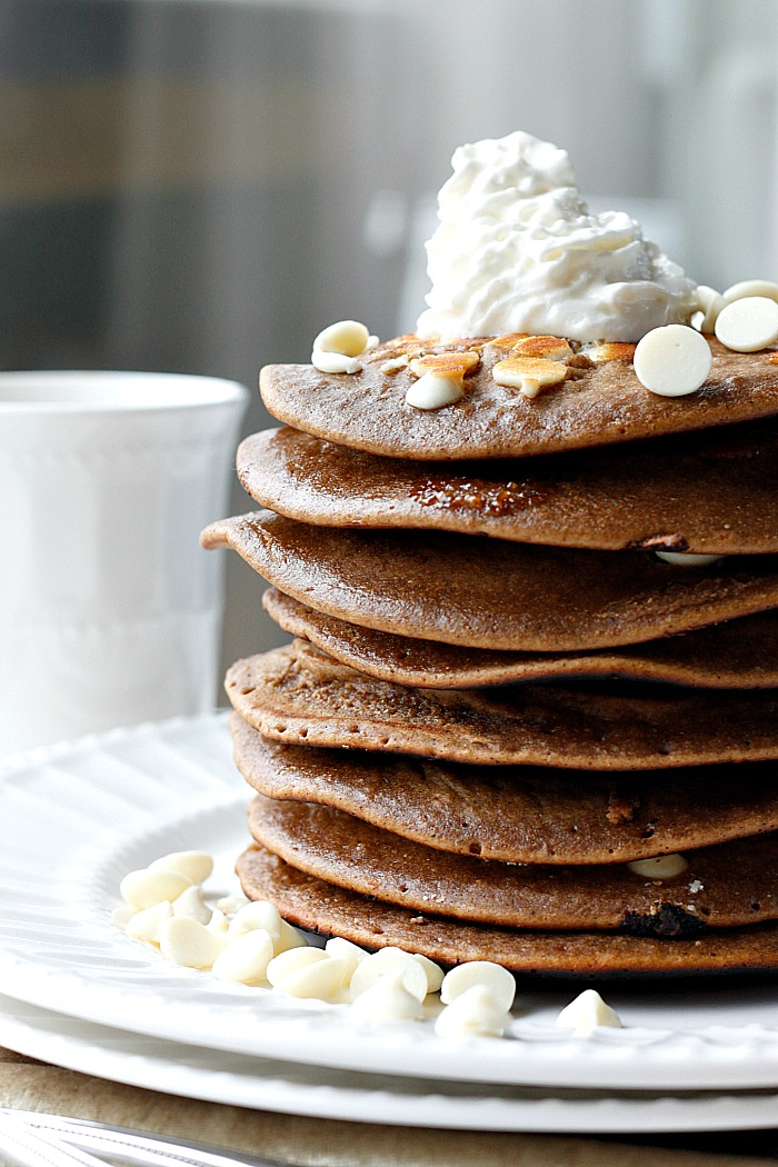 White Chocolate Gingerbread Pancakes