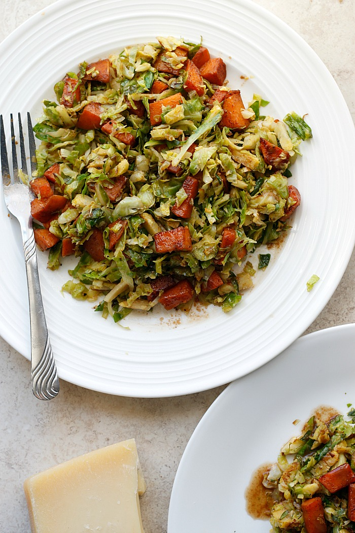 Warm Sweet Potato and Brussels Sprouts Salad with a Parmesan Vinaigrette