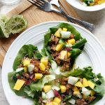 Hoisin Lime Pork Lettuce Wraps with a Cucumber Mango Salsa