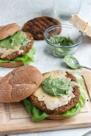 Quinoa, Black Bean, and Sweet Potato Burger with Avocado Crema and Buffalo Cheddar   Fabtastic Eats