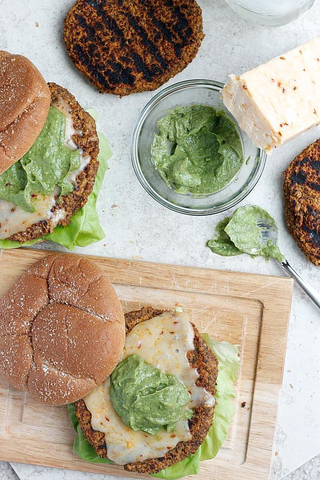 Quinoa, Black Bean, and Sweet Potato Burger with Avocado Crema and Buffalo Cheddar | Fabtastic Eats