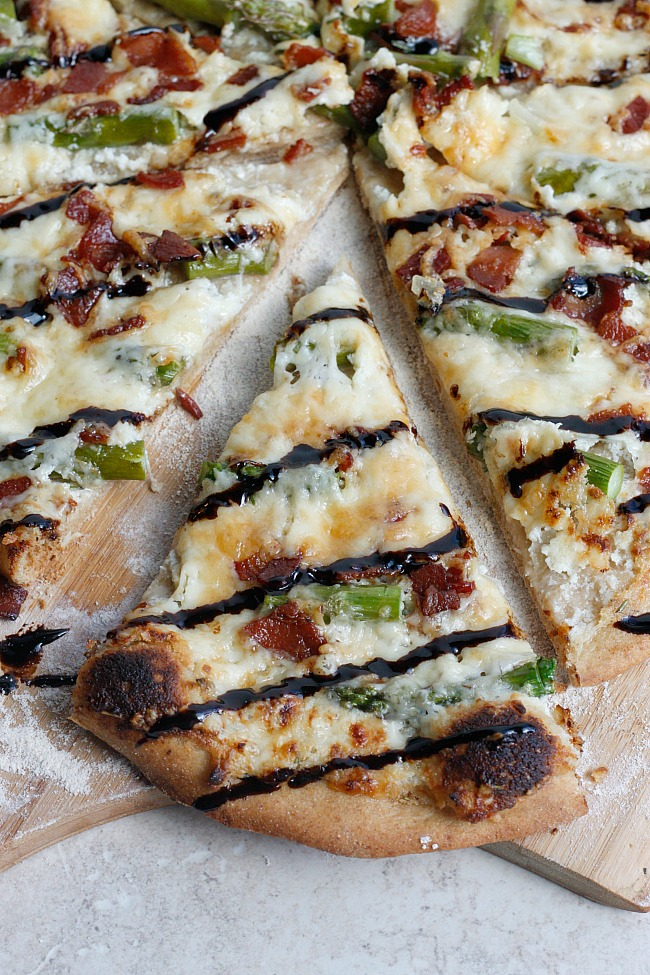 Four Cheese Asparagus and Pancetta Pizza with a Balsamic Glaze