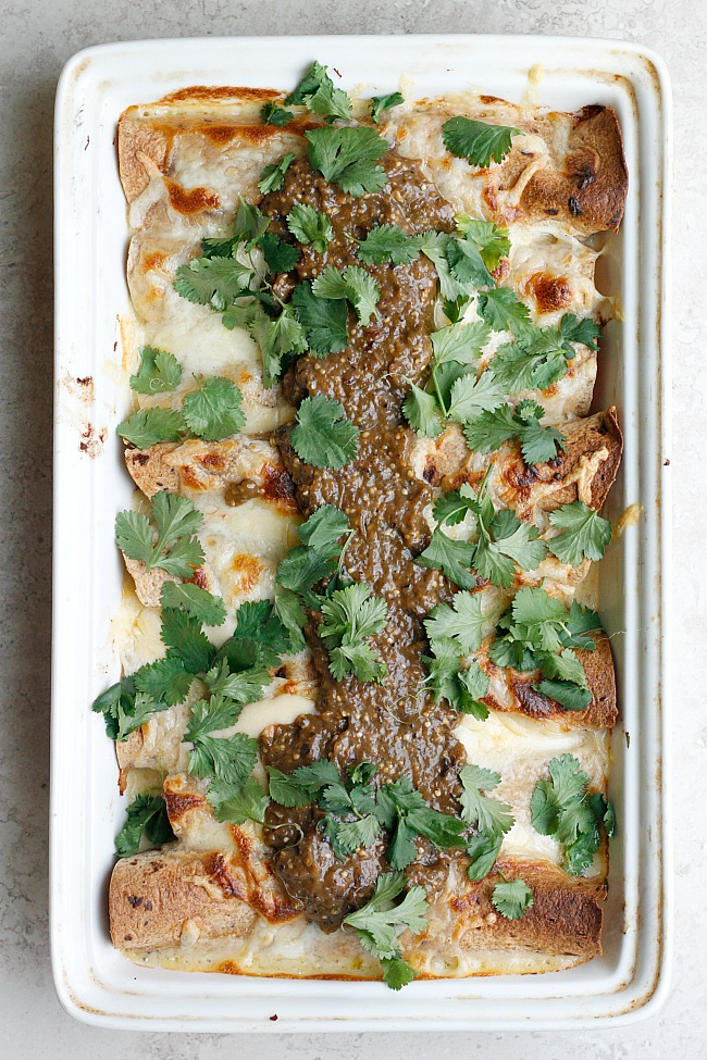 Roasted Tomatillo and Cheese Sauce Enchiladas