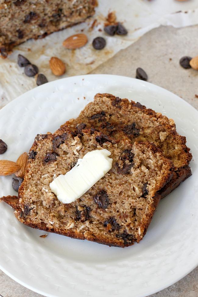 Almond Butter Chocolate Chip Banana Bread | Fabtastic Eats