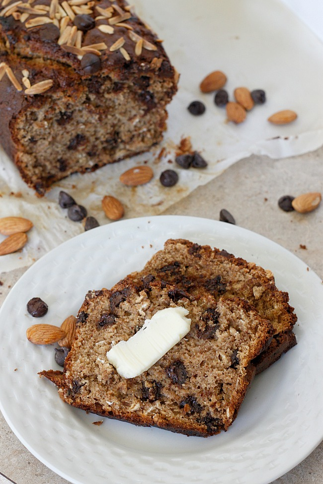 Almond Butter Chocolate Chip Banana Bread