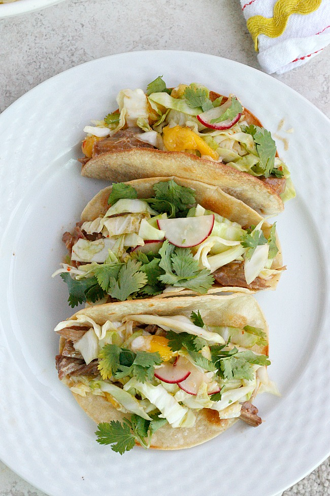Thai Pork Tacos with Mango Radish Slaw