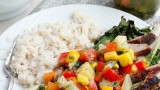 Grilled Pork Salad with Fruit Salsa and Coconut Rice | Fabtastic Eats