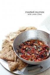 Roasted Caprese with Pesto Pitas | Fabtastic Eats