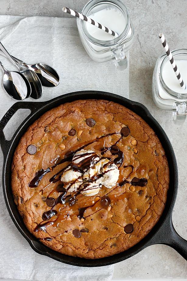 Dark Chocolate, Pumpkin Butter, & Butterscotch Skillet Cookie ...